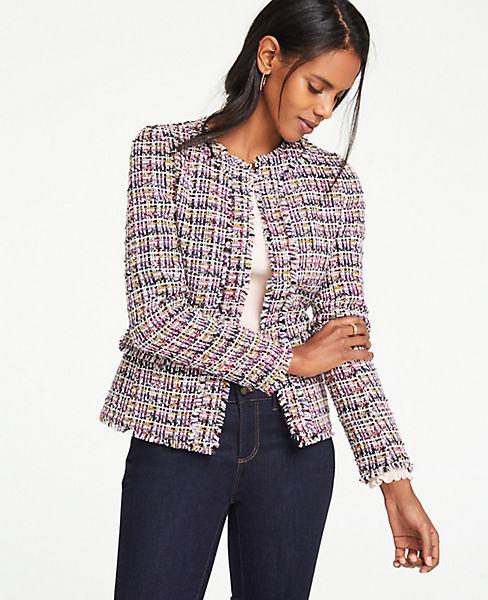 Petite Fringe Tweed Peplum Jacket