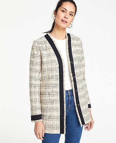 Petite Framed Fringe Tweed Jacket