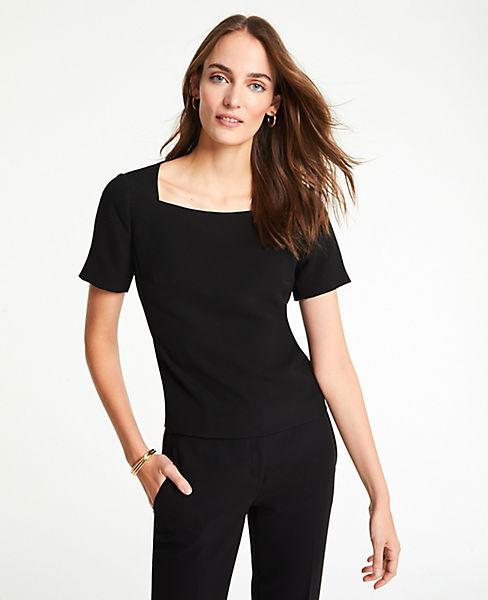 Petite Doubleweave Short Sleeve Top
