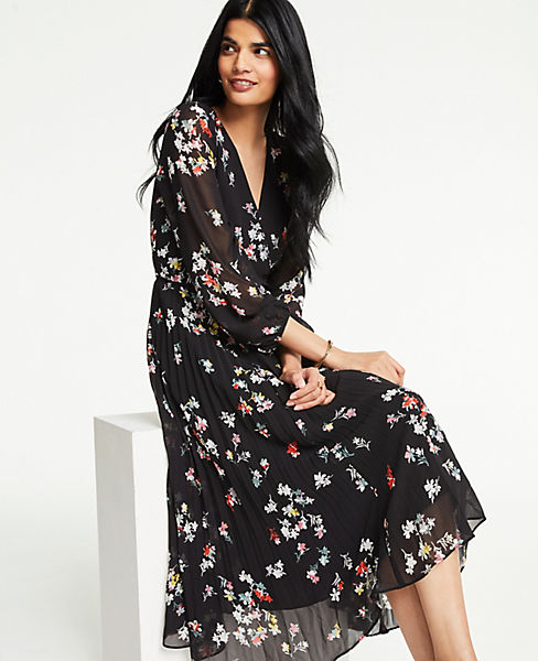 Petite Meadow Floral Pleated Wrap Dress