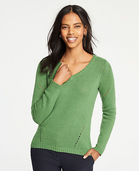 Petite Pointelle V-Neck Sweater