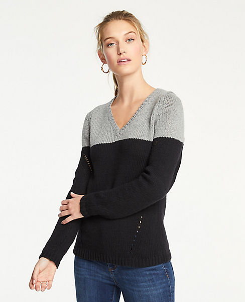 Petite Colorblock Pointelle V-Neck Sweater