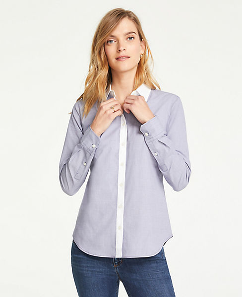 Petite Contrast Trim End On End Cotton Perfect Shirt