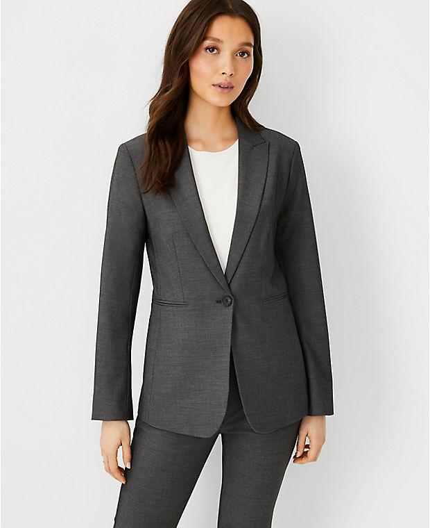 앤테일러 블레이저 Ann Taylor The Long One-Button Blazer in Bi-Stretch,Dark Grey