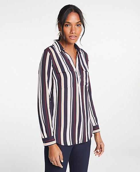 Petite Stripe Camp Shirt