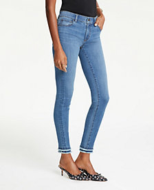 15df66422b Image 1 of 4 - Frayed Performance Skinny Ankle Jeans in Bright Mid Indigo  Wash
