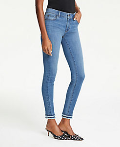 c6cfa13c15 Frayed Performance Skinny Ankle Jeans in Bright Mid Indigo Wash