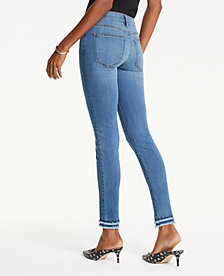 8076c6e340 Image 2 of 4 - Frayed Performance Skinny Ankle Jeans in Bright Mid Indigo  Wash