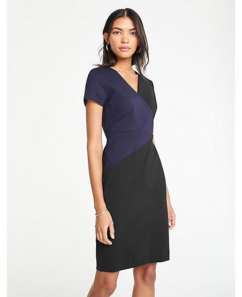 Petite Colorblock V-Neck Ponte Sheath Dress