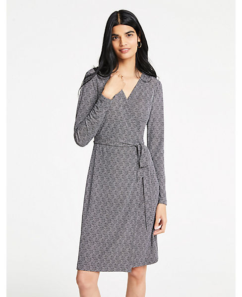 Petite Herringbone Matte Jersey Wrap Dress