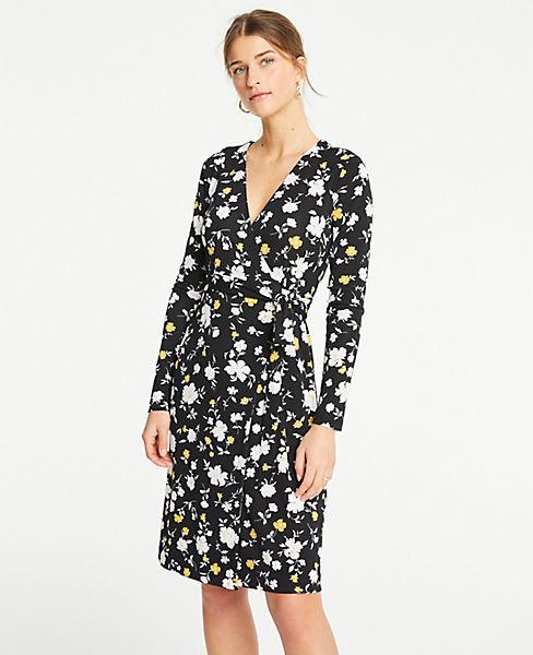 Petite Floral Matte Jersey Wrap Dress