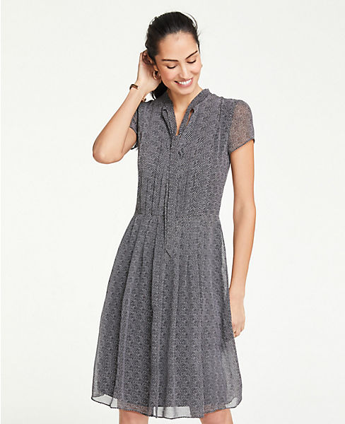 Petite Herringbone Tie Neck Midi Dress