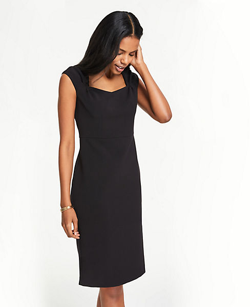 Petite Gathered Cap Sleeve Doubleweave Sheath Dress