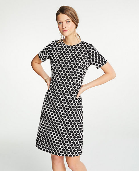 Petite Textured Polka Dot Shift Dress