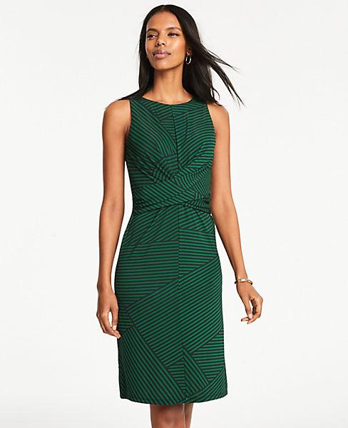 Petite Patchwork Stripe Wrap Front Dress