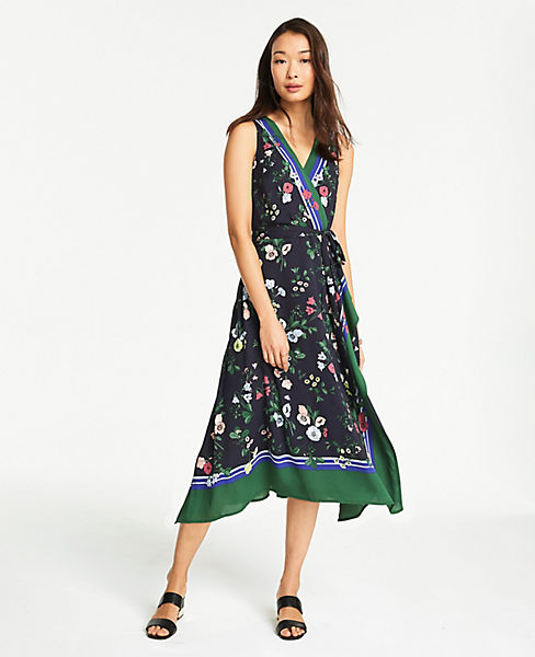Petite Floral Border Sleeveless Dress