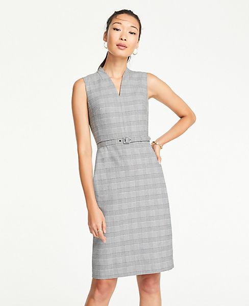 Petite Glen Plaid Belted Sleeveless Dress
