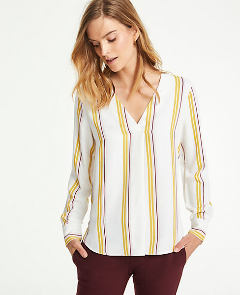 Petite Mixed Media Pleat Front Top in Stripe