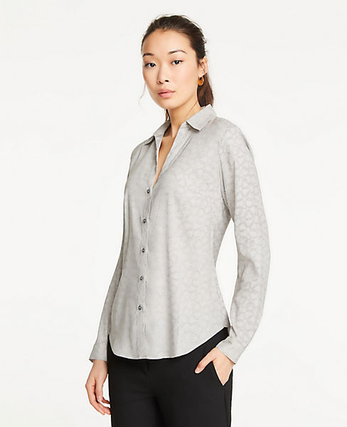 Petite Ring Toss Essential Button Down Blouse