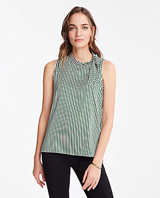 Ann Taylor STRIPE TIE NECK SHELL