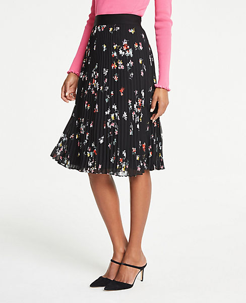Petite Floral Pleated Skirt