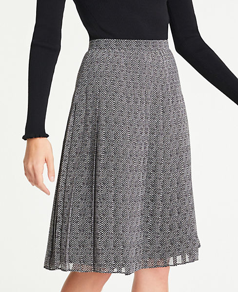 Petite Herringbone Pleated Skirt