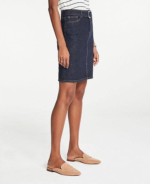 Petite Belted Denim Skirt