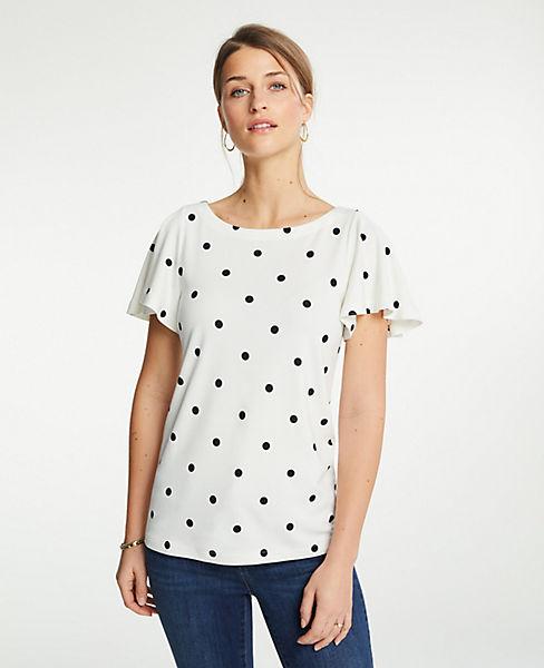 Petite Polka Dot Ponte Flutter Sleeve Top