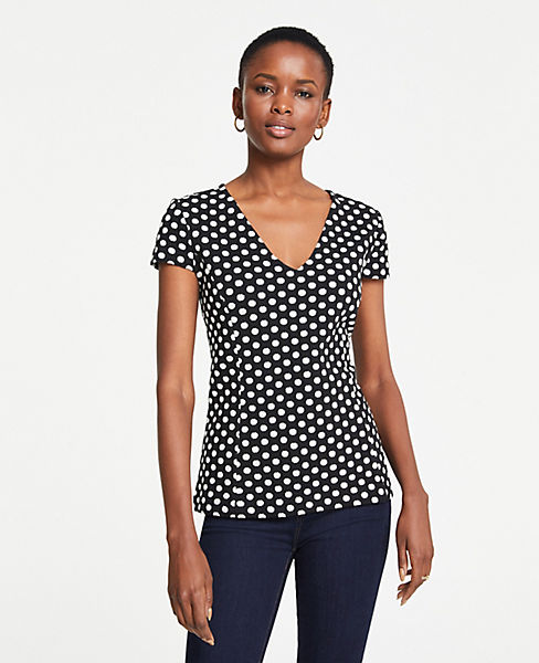 Petite Polka Dot Jacquard Knit Top