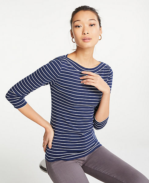 Petite Striped Boatneck Luxe Tee