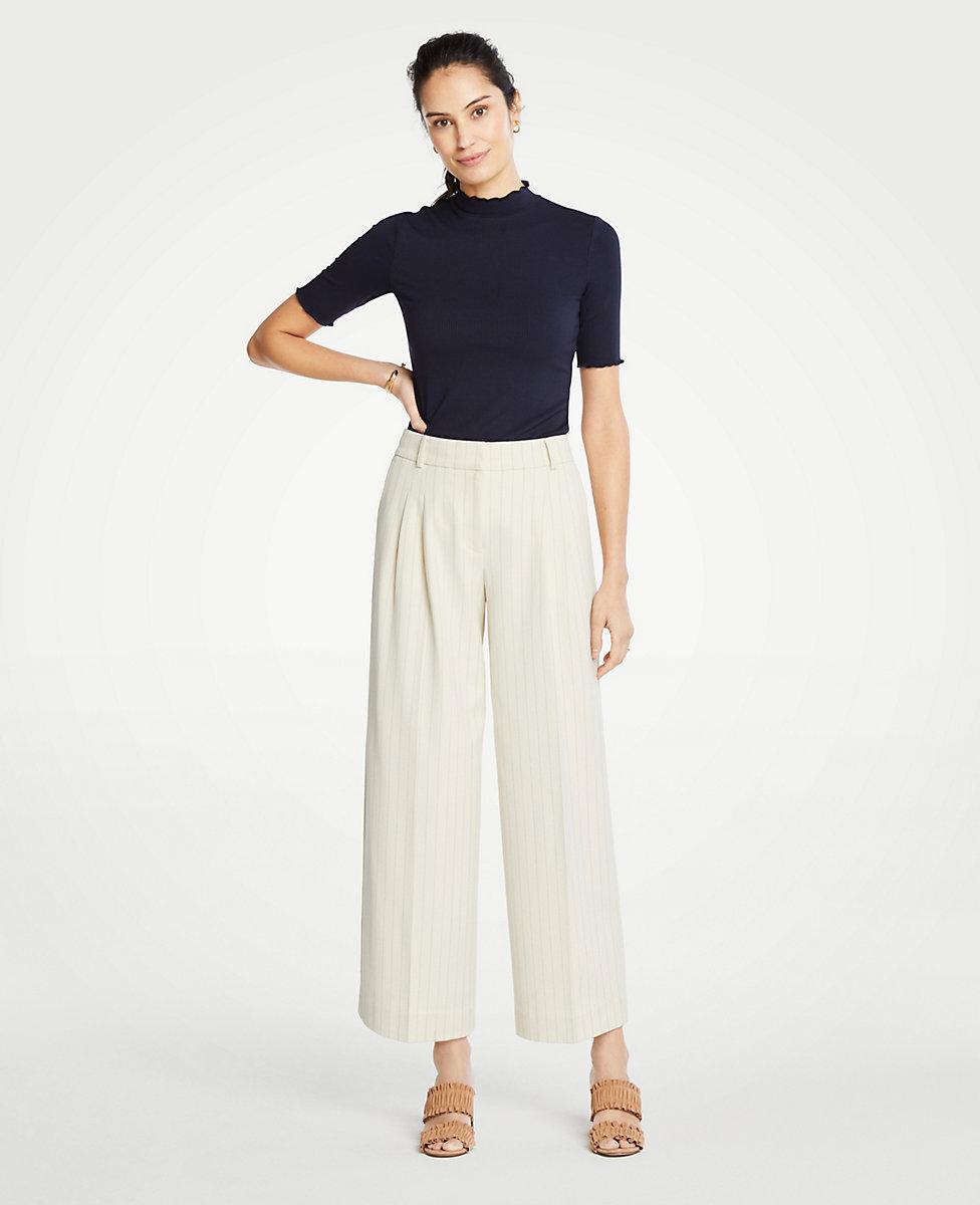 Stripe Pleated Wide Leg Crop Pants by Ann Taylor