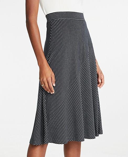 Petite Stripe Seamed Knit Full Skirt