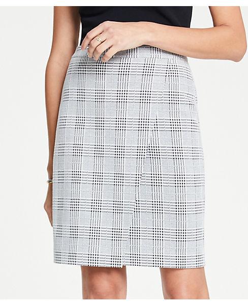 Petite Plaid Wrap Knit Pencil Skirt