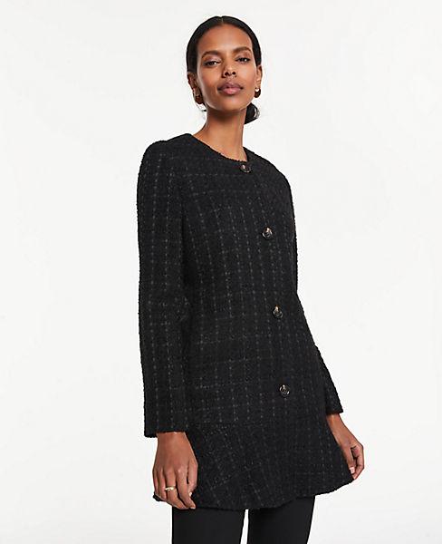 Petite Tweed Long Peplum Jacket