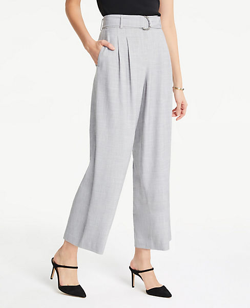 Petite Belted Fluid Wide Leg Crop Pants