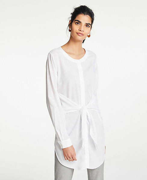 Petite Tie Waist Button Down Tunic