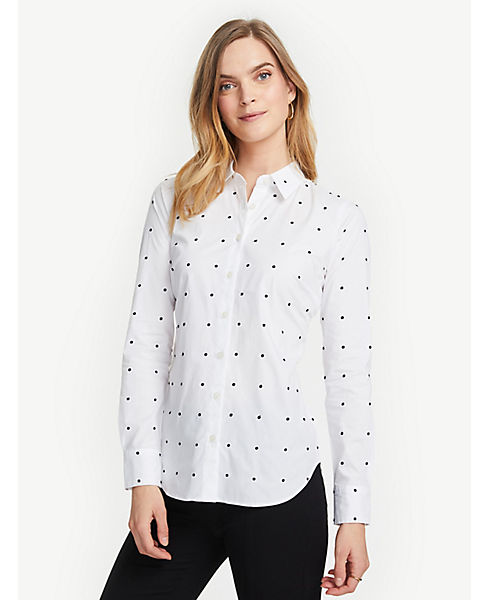 Petite Embroidered Dot Perfect Shirt