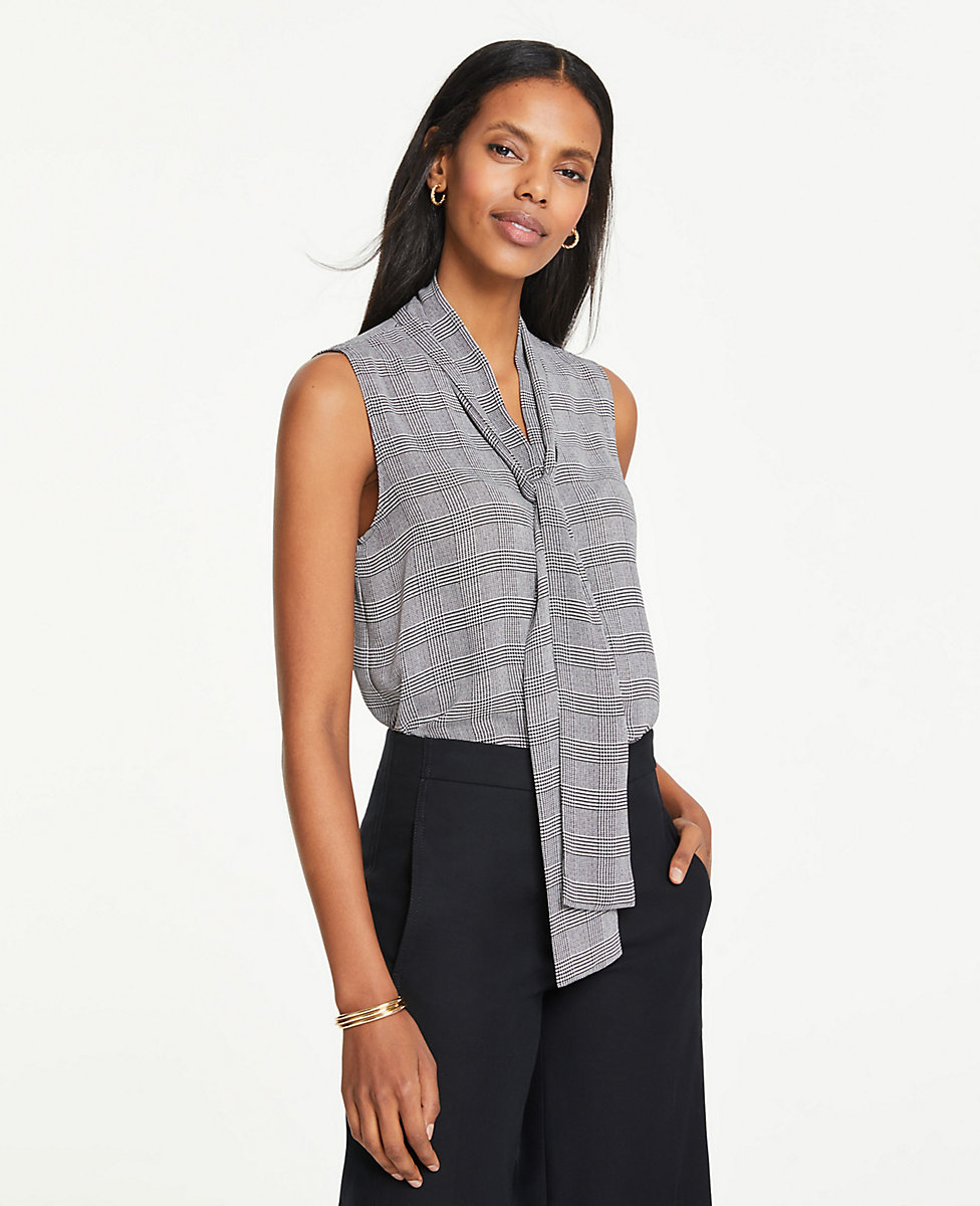 Petite Houndstooth Plaid Bow Neck Button Down Shell by Ann Taylor