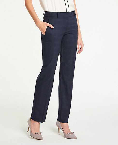 The Petite Straight Leg Pant In Windowpane - Curvy Fit