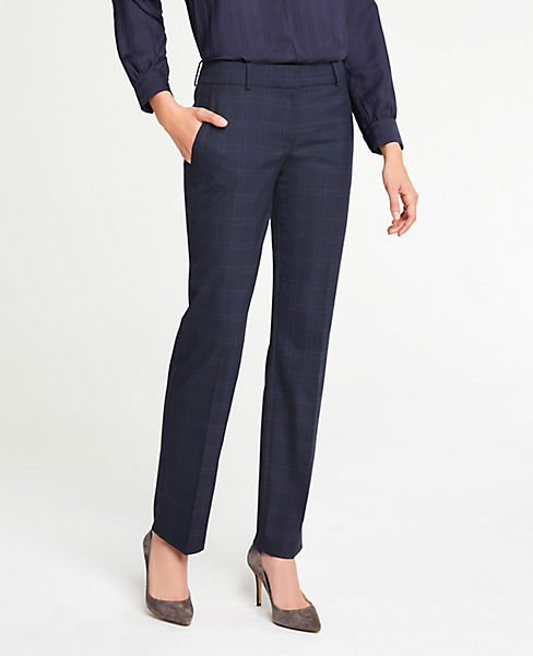 The Petite Straight Leg Pant In Windowpane - Classic Fit