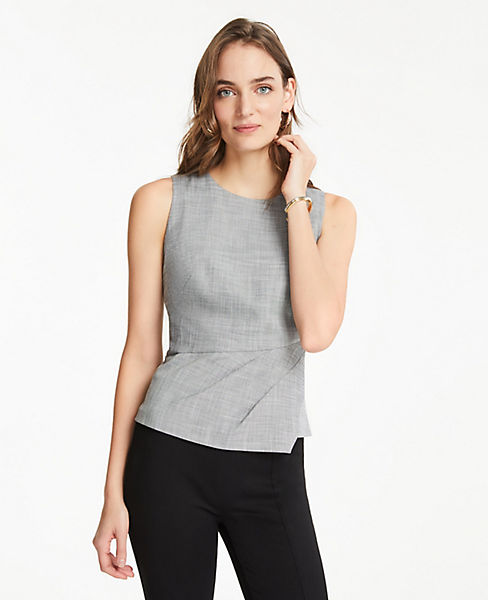 The Petite Pleated Top in Crosshatch