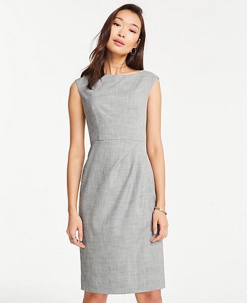 5460a14e5e8d Petite Crosshatch Boatneck Sheath Dress | Ann Taylor