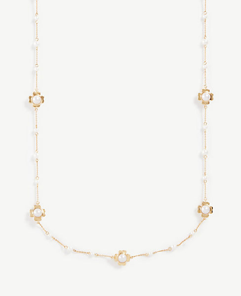 Clover Pearlized Station Necklace by Ann Taylor