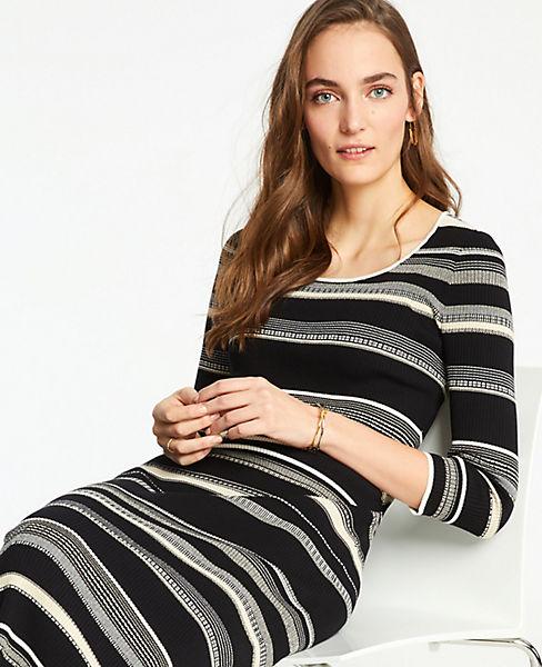 Petite Striped Scoop Neck Sweater Dress