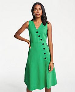 704c16f5aea Side Button Linen Blend Flare Dress