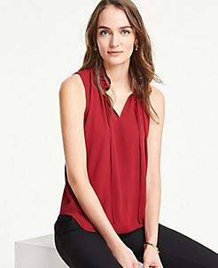 edb543351d4 Double Ruffle Tie Neck Shell
