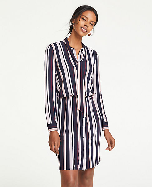 Petite Striped Tie Neck Shirtdress