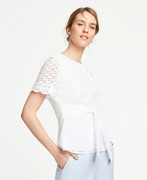 Belted Eyelet Top by Ann Taylor