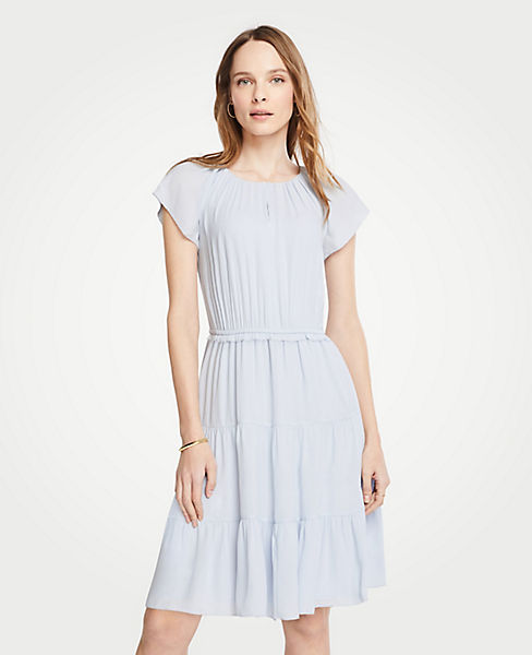 Tiered Flutter Sleeve Dress | Ann Taylor