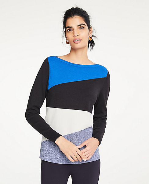 Petite Colorblock Boatneck Sweater